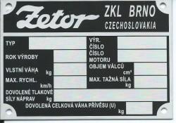 štítok Zetor ZKL Brno univerzálny