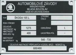 štítok Škoda 105 L