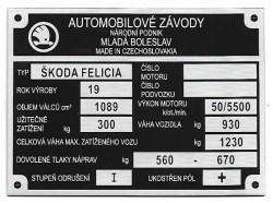 štítok Škoda Felícia 2