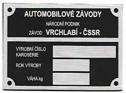 štítok Škoda univerzálny Vrchlabí-ČSSR malý