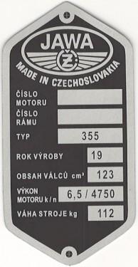 štítok Jawa/ČZ 355