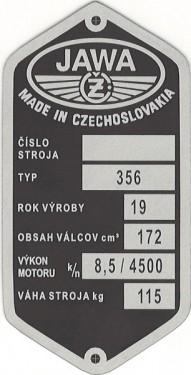 štítok Jawa/ČZ 356