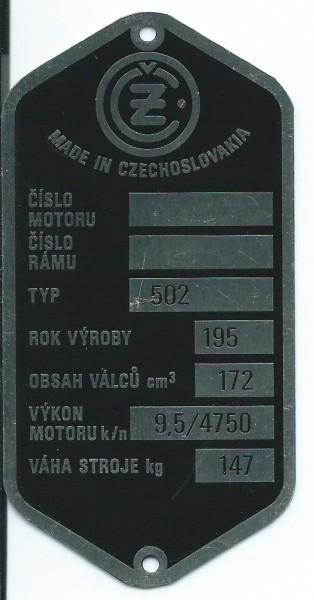 štítok ČZ 502