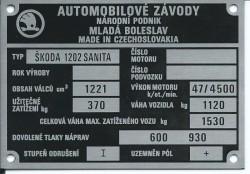 štítok Škoda 1202 SANITA